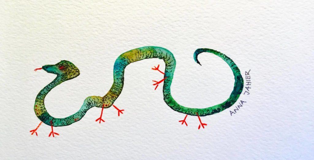 disegnare un serpente aggiungere le zampe
